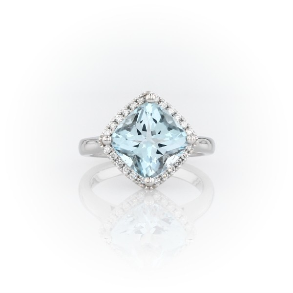 East-West Swiss Blue Topaz Diamond Halo Ring in 14k White Gold (9mm)