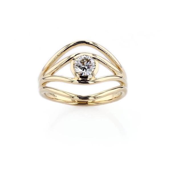 ALMASIKA 'Serene' Bezel-Set Diamond Engagement Ring in 18k Yellow Gold