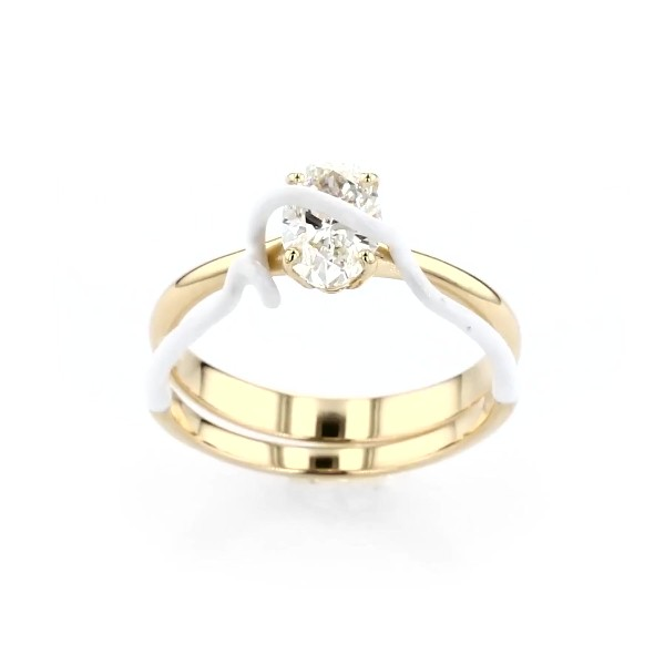 Bea Bongiasca 'You're So Mine' Claw-Set Diamond Engagement Ring in Enamel and 18k Yellow Gold