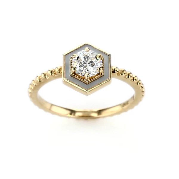 Harwell Godfrey 'Motu' Prong-Set Diamond and Mother-of-Pearl Engagement Ring in 18k Yellow Gold