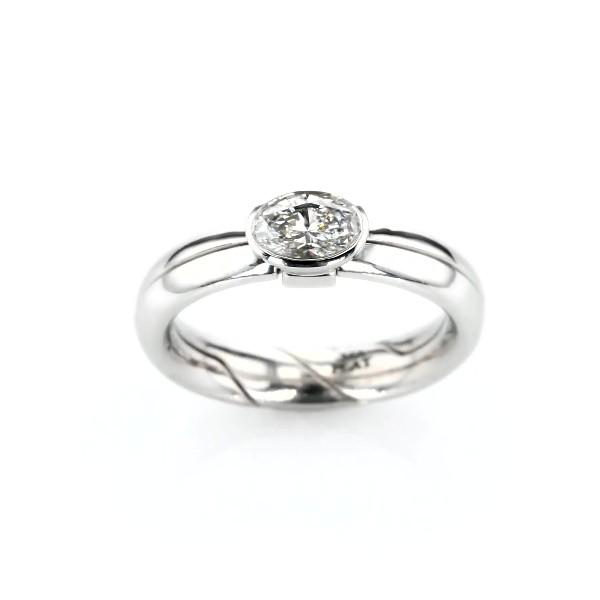 Marla Aaron 'DiMe Siempre' Bezel-Set Diamond Engagement Ring in Platinum