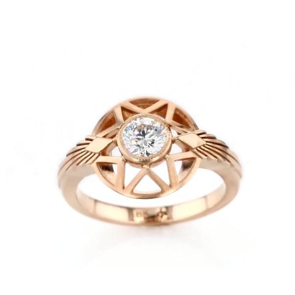 Michelle Fantaci 'Naledi' Bezel-Set Diamond Engagement Ring in 18k Rose Gold