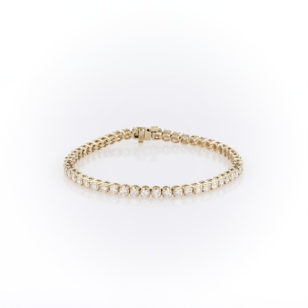 Bracelet tennis diamants en or jaune 14carats (4carats, poids total)