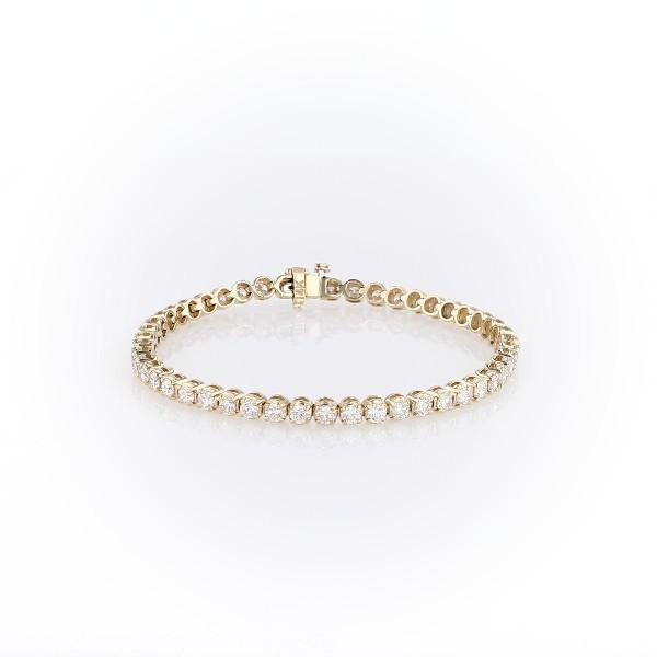 Bracelet tennis diamants en or jaune 14carats (5carats, poids total)