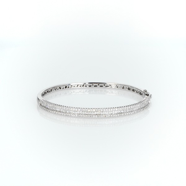 Round and Baguette Diamond Bangle in 14k White Gold (2 ct. tw.)