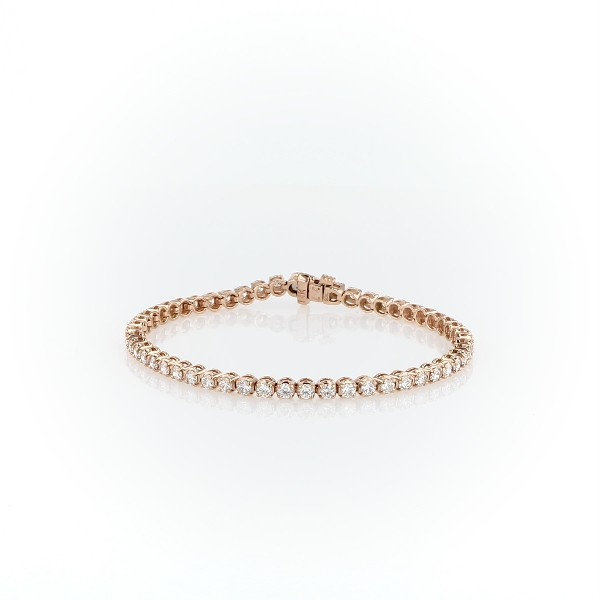 Bracelet tennis diamants en or rose 14 carats (4 carats, poids total)