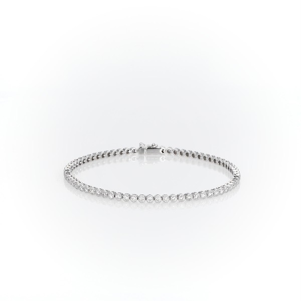 Petite Diamond Milgrain Tennis Bracelet in 14k White Gold (1 1/2 ct. tw.)