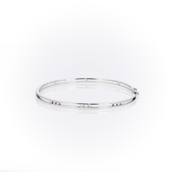 Triple Diamond Station Bangle Bracelet in 14k White Gold (1/3 ct. tw.)