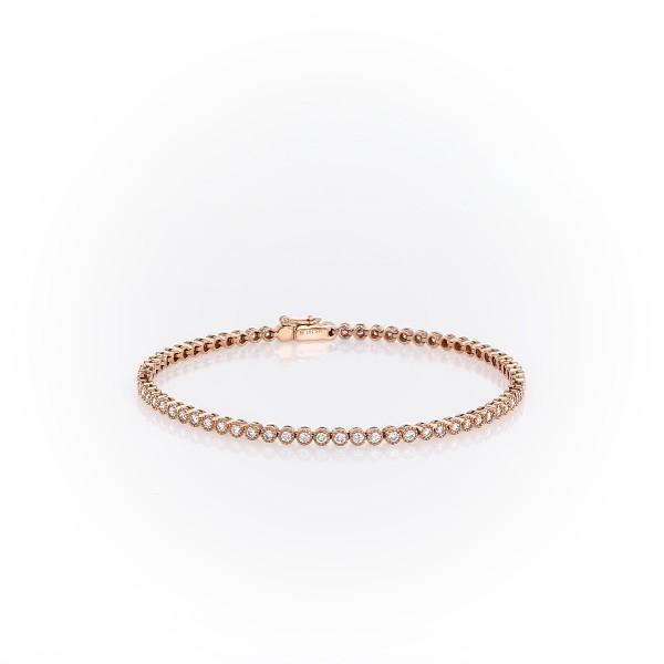Brazalete tipo tenis con pequeños diamantes y detalles en milgrain en oro rosado de 14k (1 1/2 qt. total)