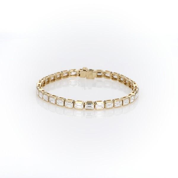 18k 金祖母绿切割钻石永恒手链<br>(9.93 克拉总重量)
