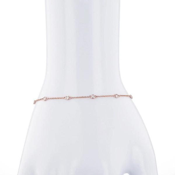 14k 玫瑰金鑽石鑲嵌心形手鍊(1/4 克拉總重量)