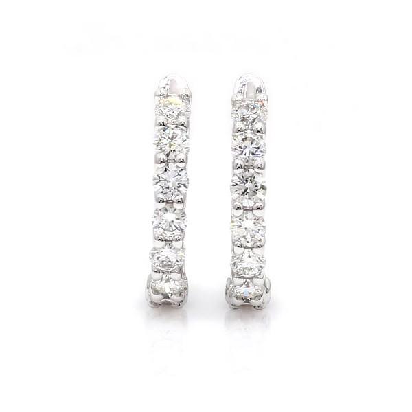 18k 白金钻石圈环形耳环(1 3/4 克拉总重量)