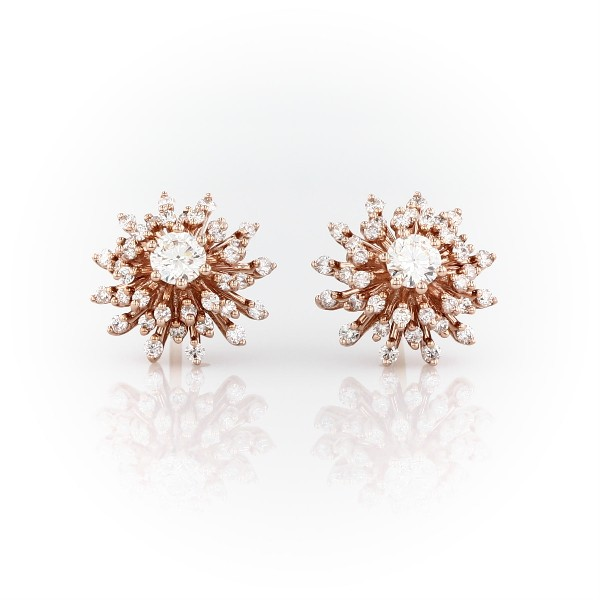 Sunburst Diamond Stud Earrings in 14k Rose Gold (1 ct. tw.)