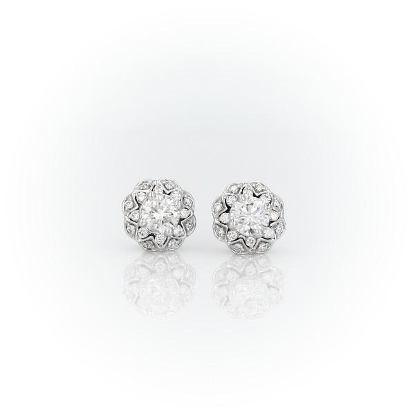 ZAC Zac Pozen Scalloped Floral Halo Diamond Stud Earrings in 14k White Gold (2/3 ct. tw.)