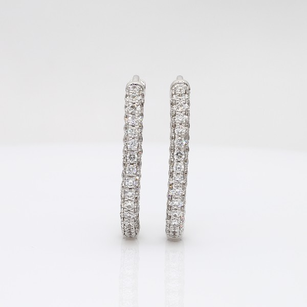 18k 白金 Monique Lhuillier 橢圓鑽石圈形耳環(1.83 克拉總重量)