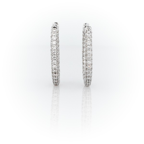 Monique Lhuillier Petite Oval Diamond Hoop Earrings in 18k White Gold (1ct. tw.)