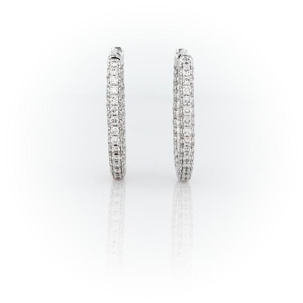 18k 白金 Monique Lhuillier 橢圓鑽石圈形耳環(1 克拉總重量)