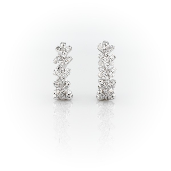 Monique Lhuillier Laurel Diamond Hoop Earrings in 18k White Gold (1/3 ct. tw.)
