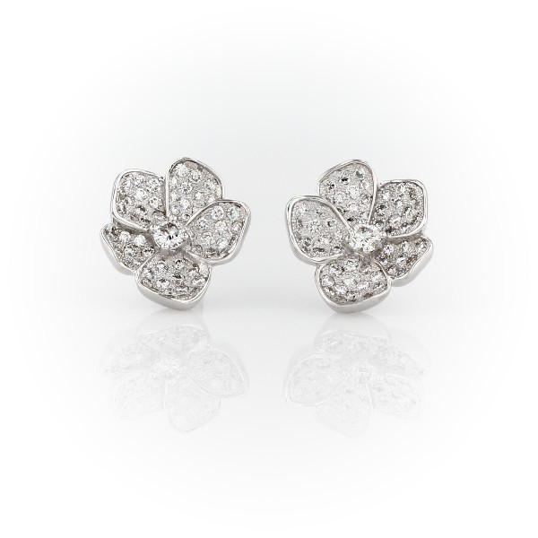 Monique Lhuillier Floral Diamond Stud Earrings in 18k White Gold