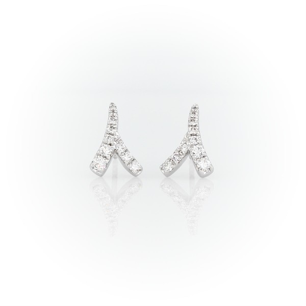 Monique Lhuillier Laurel Diamond Earrings in 18k White Gold