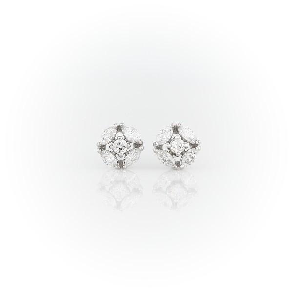 Monique Lhuillier Cherie Diamond Button Earrings in 18k White Gold (3/8 ct. tw.)