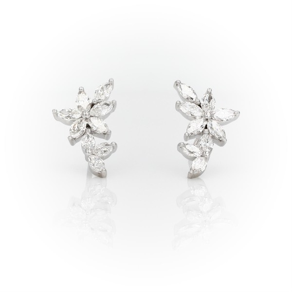 Monique Lhuillier Etoile Marquise Diamond Ear Climbers in 18k White Gold (1 1/2 ct. tw.)