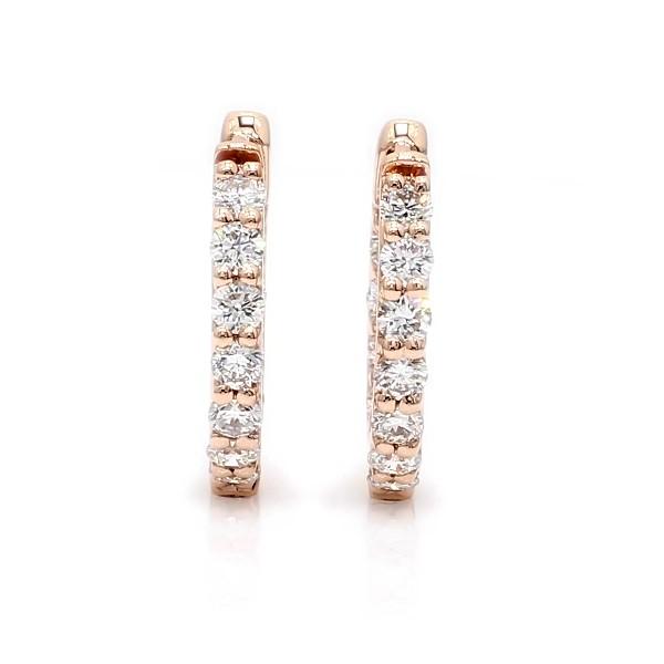 Monique Lhuillier Diamond Hoop Earrings in 18k Rose Gold