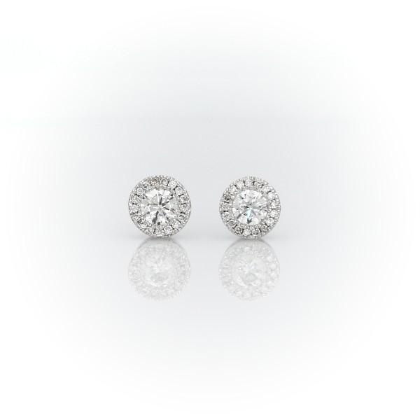 Diamond Halo Earrings in 14k White Gold (0.48 ct. tw.)