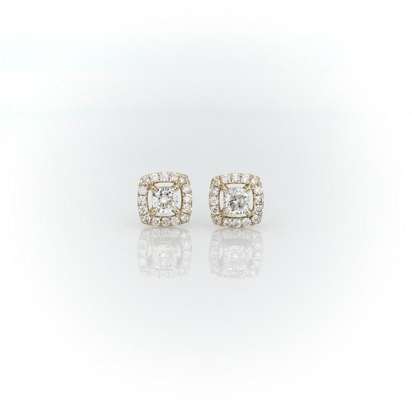 14k 黃金墊形切割鑽石光環釘款耳環(1/3 克拉總重量)
