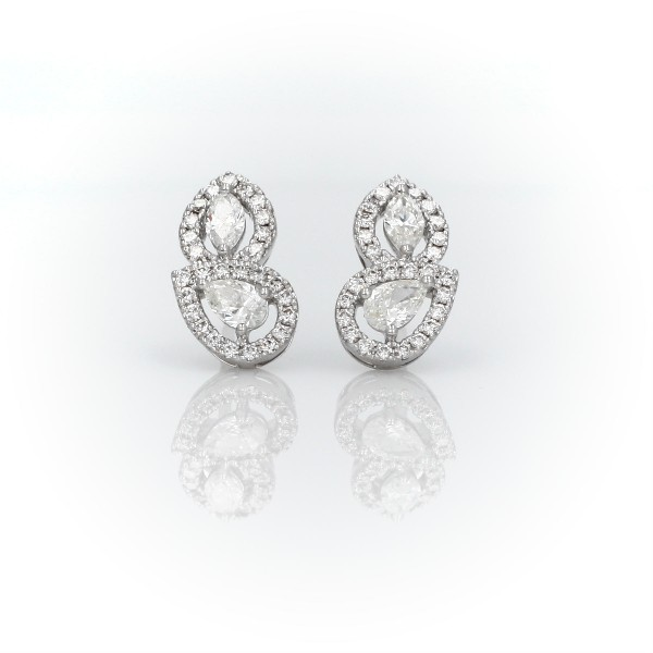 Marquise and Pear Shape Diamond with Halo Stud Earrings in 14k White Gold
