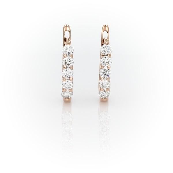 Diamond Hoop Earrings in 18k Rose Gold (3/4 ct. tw.)