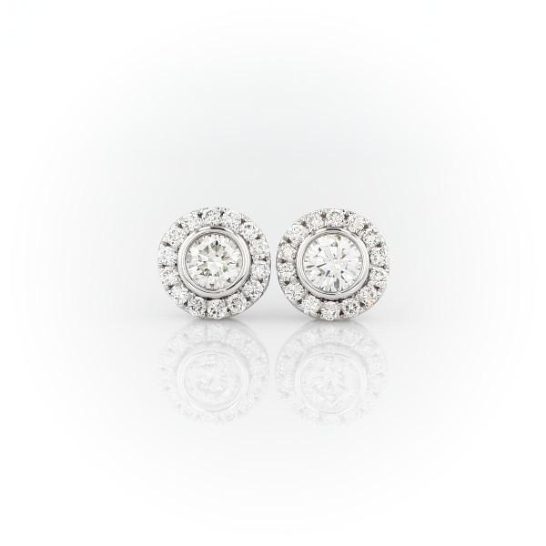14k 白金光環包邊鑲鑽石釘款耳環(1 克拉總重量)