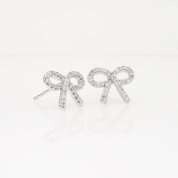 Diamond Bow Earrings in 14k White Gold 1 4 ct tw