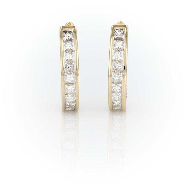 Aretes tipo argolla de diamantes de talla princesa en oro amarillo de 18k (1 1/2 qt. total)