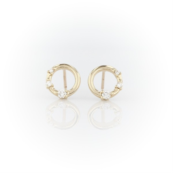 Mini Diamond Three-stone Open Circle Stud Earrings in 14k Yellow Gold (1/8 ct. tw.)