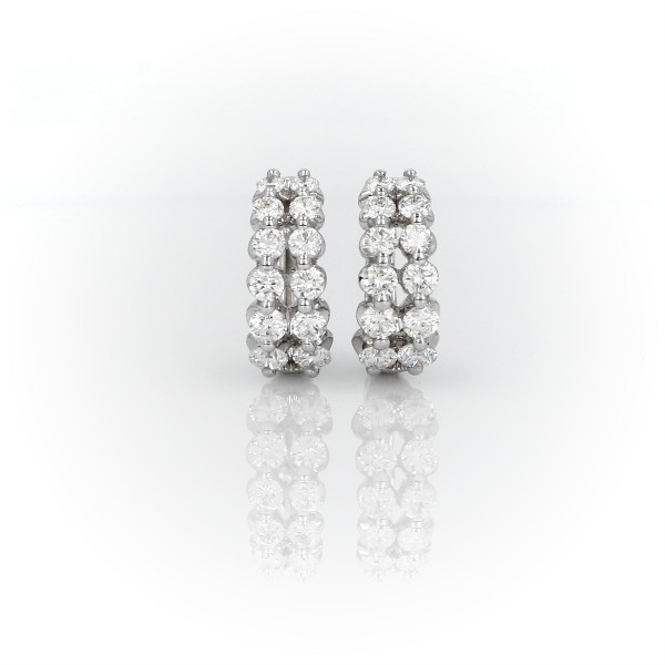 Two Row Diamond Huggie Hoop Earrings in 14k White Gold (1 ct. tw)
