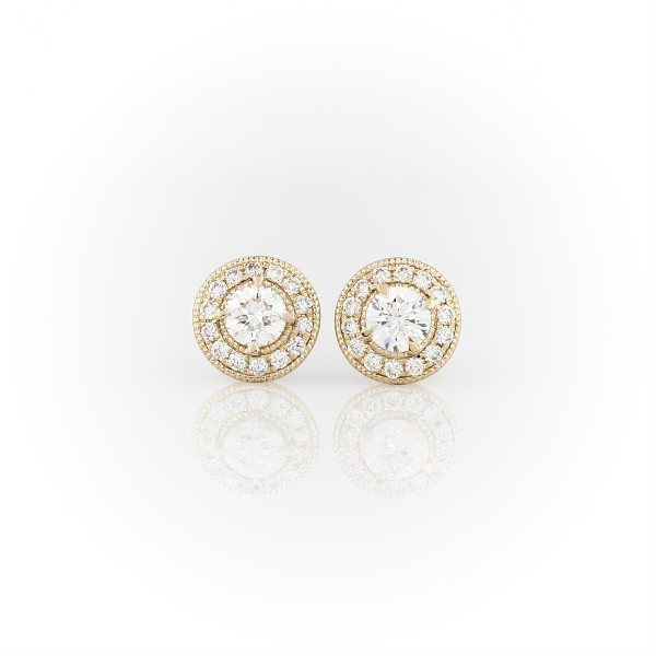 14k 黃金復古風格光環鑽石耳環(3/4 克拉總重量)