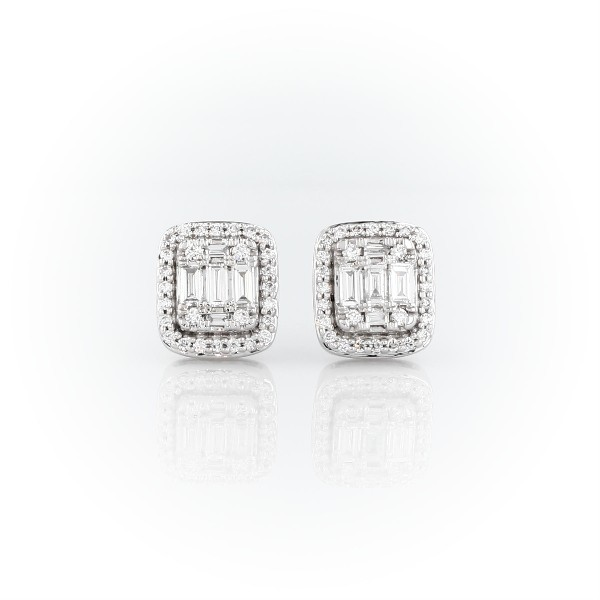 Baguette Diamond Halo Earrings in 18k White Gold