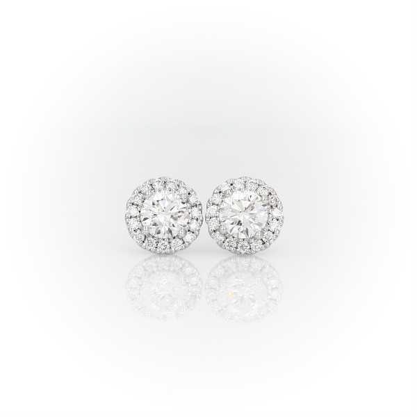 Diamond Halo Earrings in 14k White Gold (0.98 ct. tw.)