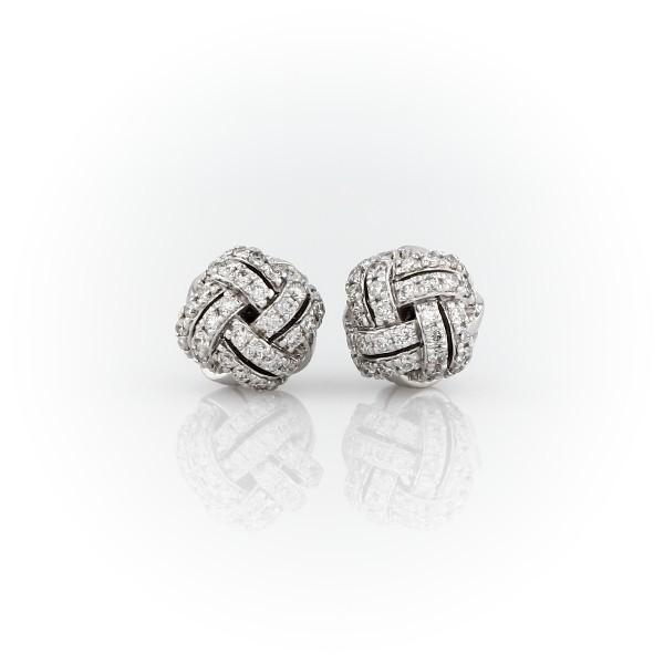 Love Knot Diamond Stud Earrings in 14k White Gold (5/8 ct. tw.)