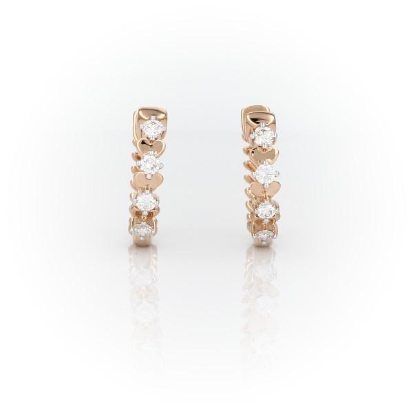 Aretes tipo argolla con diamantes pequeños en forma de pétalo de rosa de Studio de Blue Nile en oro rosado de 18k (1/4 qt. total)