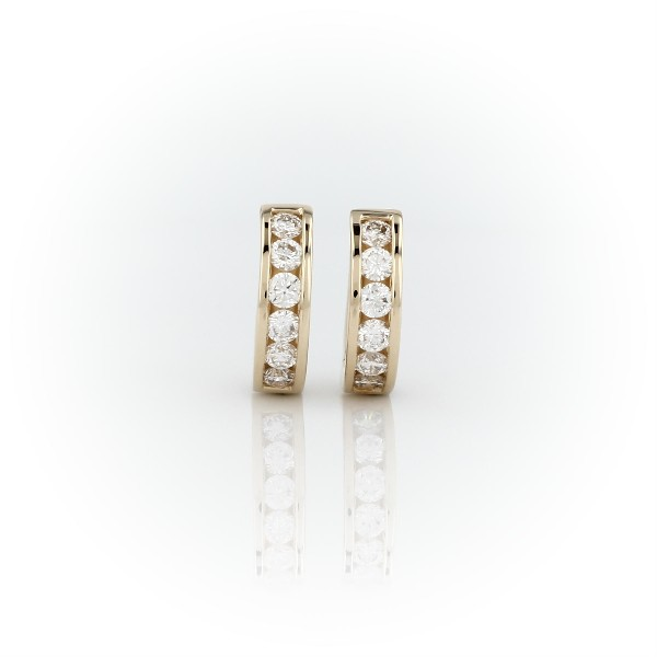 Mini Channel-Set Huggie Hoop Earrings in 14k Yellow Gold (1/2 ct. tw.)
