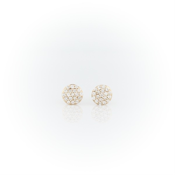 Mini Diamond Button Earrings in 14k Yellow Gold