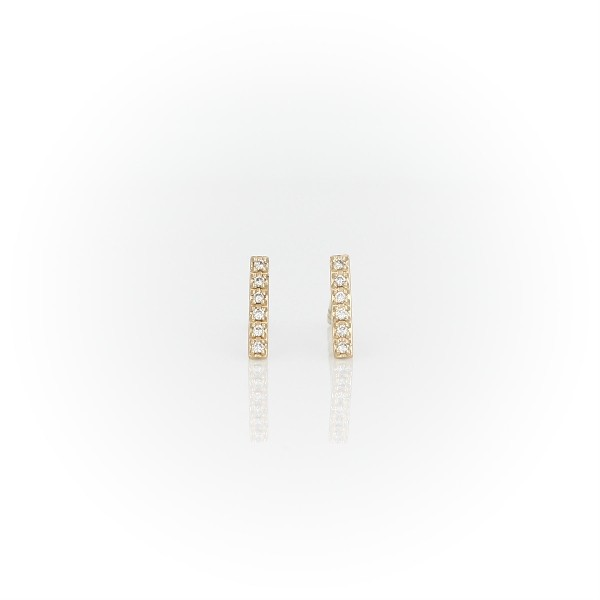 Mini Diamond Bar Stud Earrings in 14k Yellow Gold