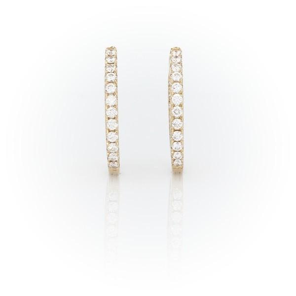 14k 金钻石密钉圈环形耳环(5/8 克拉总重量)