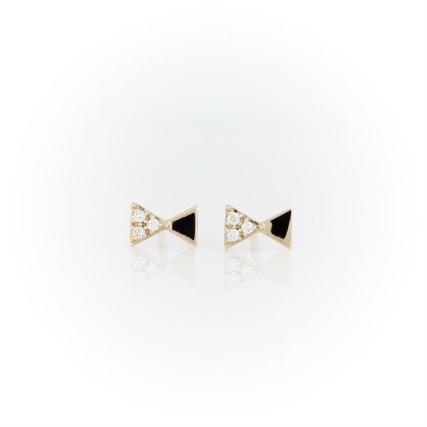 Mini Diamond Bowtie Studs in 14k Yellow Gold