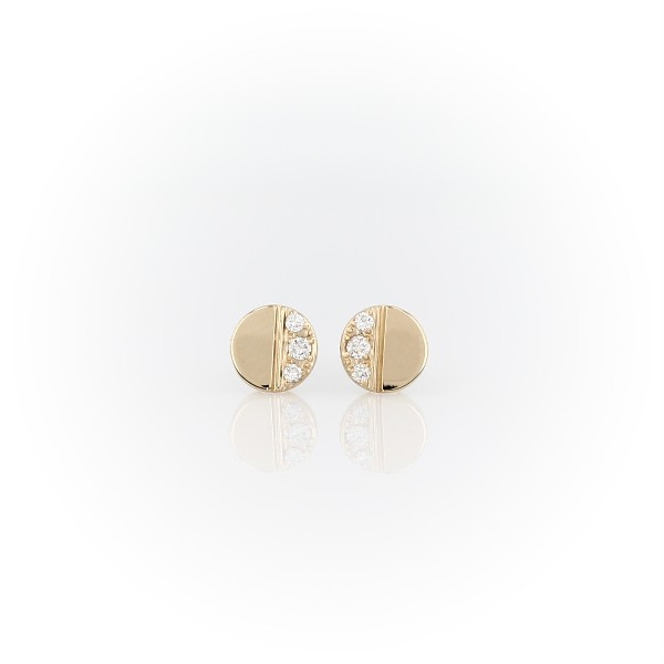 Mini Diamond Disc Stud Earrings in 14k Yellow Gold