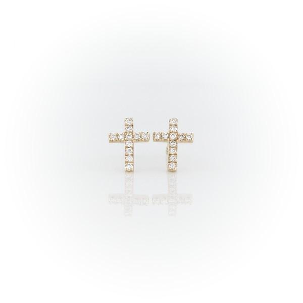 Petites puces d'oreilles croix de diamants en or jaune 14carats (0,08carat, poids total)