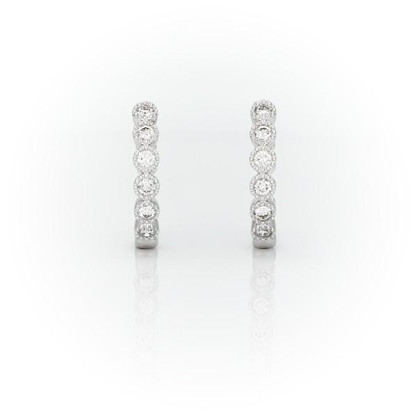 14k 白金小巧鑽石鋸狀圈形耳環(1/4 克拉總重量)