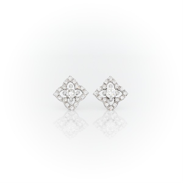 Petite Diamond Floral Stud Earrings in 14k White Gold (1/4 ct. tw.)